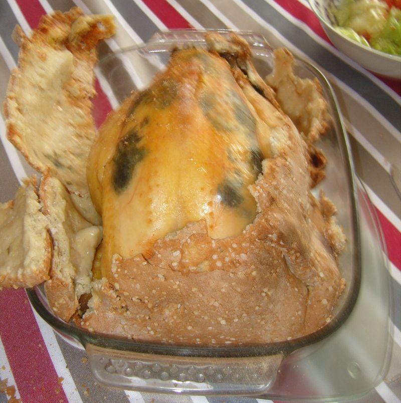 Poulet en croute de sel ouvert