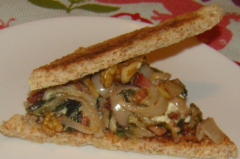 Sandwich chaud blette boursin noix echalottes 2