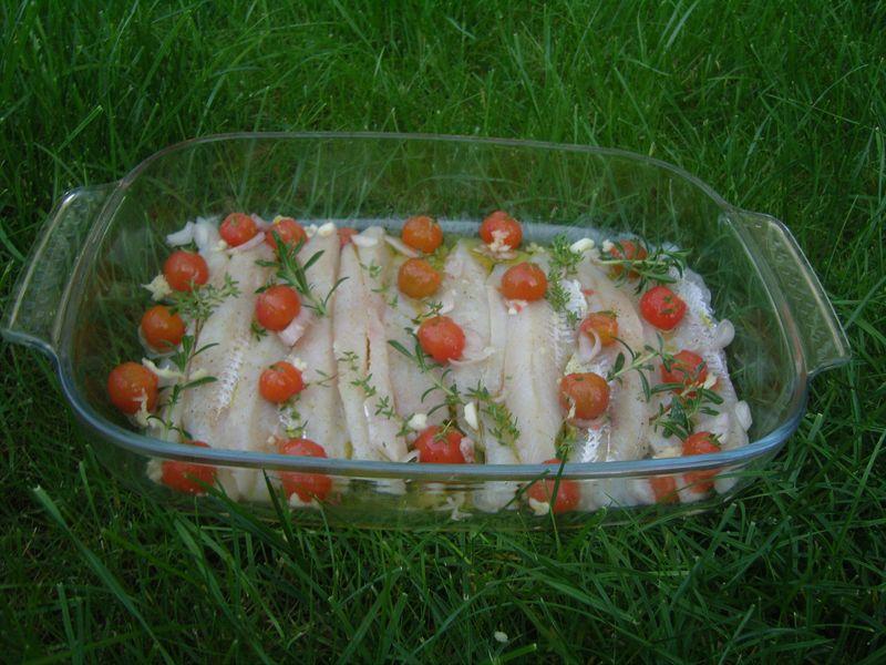 Flétan tomates cerises herbes  vinaigre de framboise