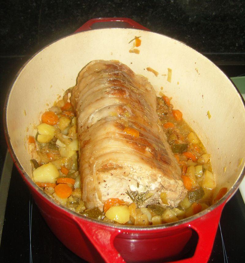 Roti de Porc, Miel, Romarin et ses petits légumes