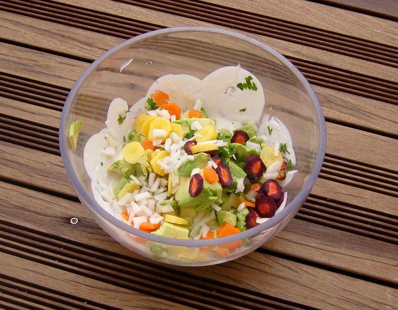 Tartare de légumes avant le mélange