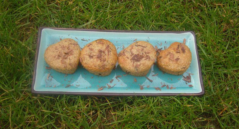 Muffins flocons d'avoine banane chocolat