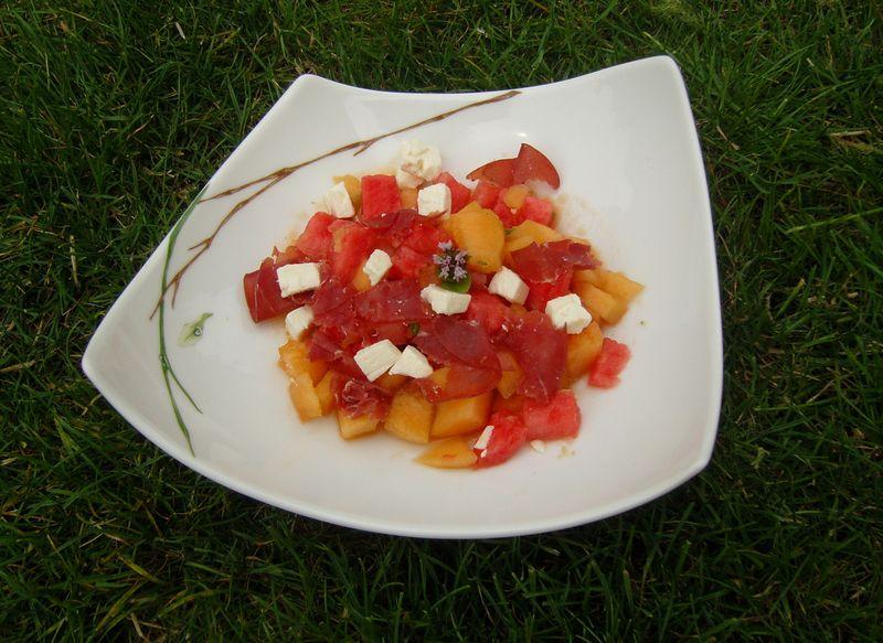 Salade Melon Pastèque Feta Bresaola