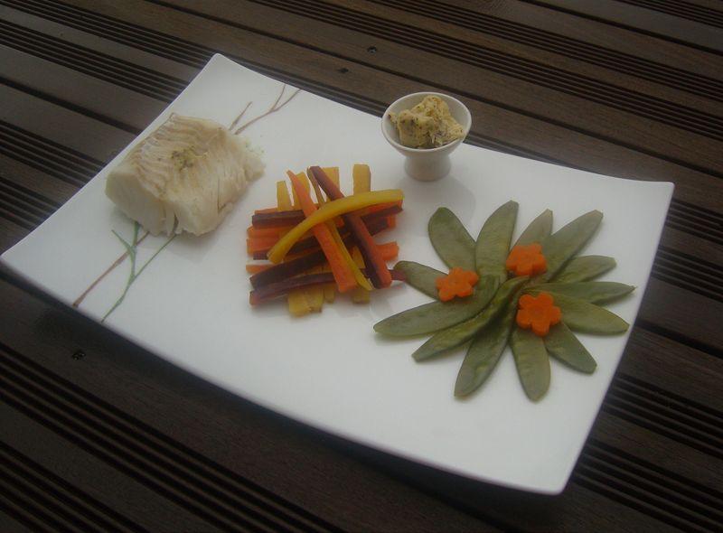 Trilogie de Carottes BOuquet de Pois Gourmand et Cabillaud au Beurre d'Algues Vapeur