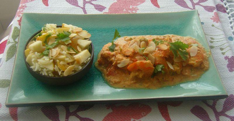 Curry de Crevettes et son Riz Indien
