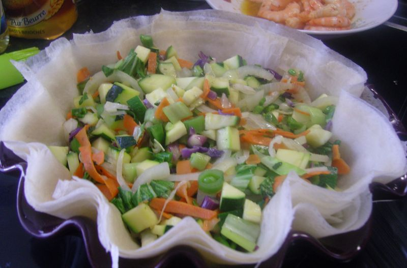 Croustillant Crevettes Legumes Menthe Pignons Prep