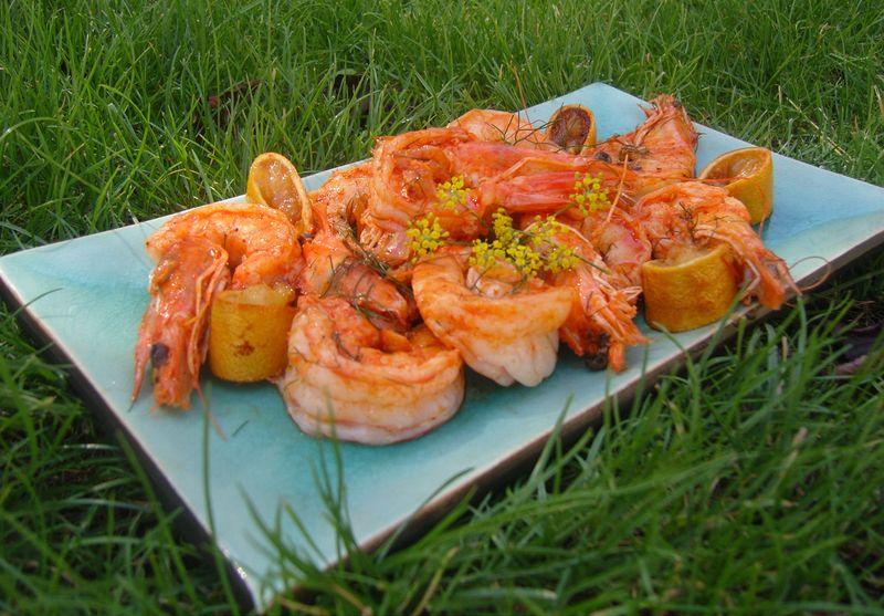 Crevettes Aneth, Gingembre et Citron Rôtis