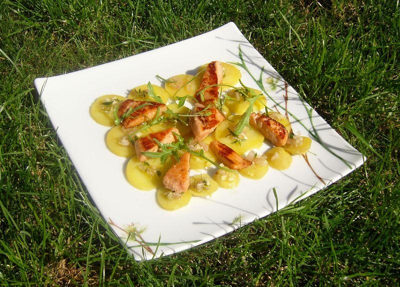 Salade de Pommes de Terre aux Aiguilettes de Saumon Epicées inspiration Joël Robuchon